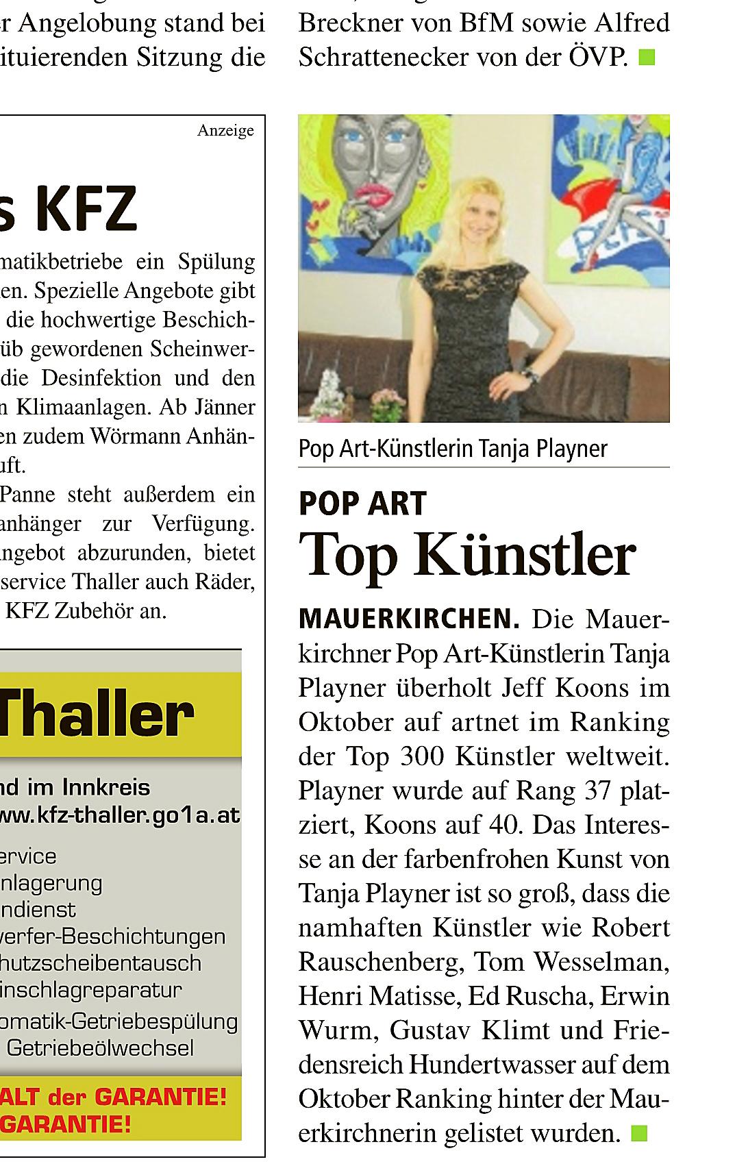 Tanja Playner - Press / Presse - Pop Art artist press modern art ...